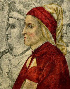 Portrait of Dante Alighieri (1265-1321) • Engraving after the fresco in Bargello Chapel, painted by Giotto di Bondoni, 14th century