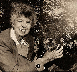 Eleanor Roosevelt in one of many pictures taken with her dog Fala, November 1951 • Source: FDR Library; photographer unknown