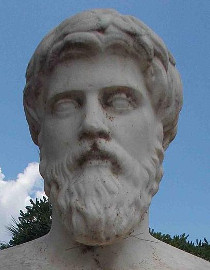 Bust of Plutarch at Chaeronea, Greece • Photo by Odysses