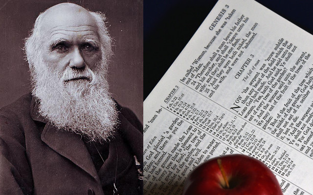 "LEFT: Photo portrait of Charles Darwin by Herbert Rose Barraud, 1881 (believed to be the last photograph of Darwin ever taken) • Public-domain photo from Wikimedia Commons (https://commons.wikimedia.org) • RIGHT: ""Fall of Man"" by Circe Denyer • Public-domain photo from Public Domain Pictures (www.publicdomainpictures.net)"