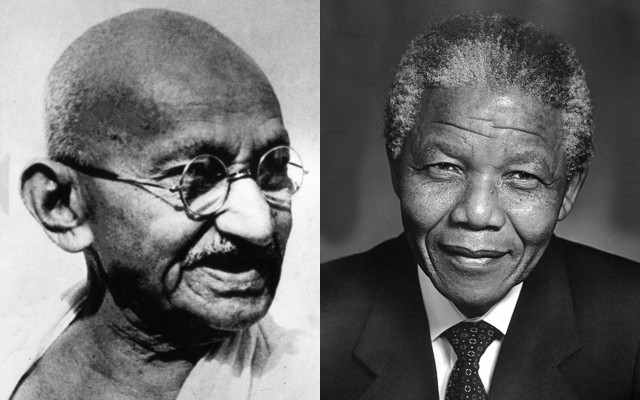 While Mohandas K. Gandhi (1868-1948) and Nelson Mandela (1918-2013) upheld widely divergent approaches to their respective social justice movements, both agreed that violent resistance is better than apathetic responses to terror • Photo of Gandhi courtesy of Wikimedia Commons • https://commons.wikimedia.org • Photo of Mandela courtesy of mandela.co.za