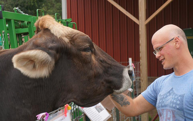Gary enjoys some cow love with Shania at SASHA Farm Animal Sanctuary, August 24, 2016 • Photo by Erika Windisch
