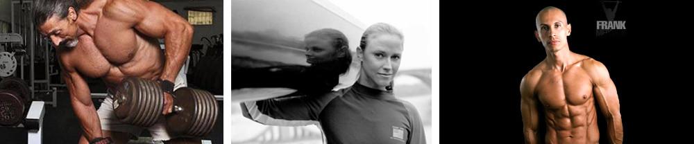 From left: Avi Lehyani, Israeli powerlifter and vegan for more than 30 years; Pam Boteler, sprint canoeist and bad-ass vegan athlete; Frank Medrano, vegan bodybuilder and MONSTER athlete
